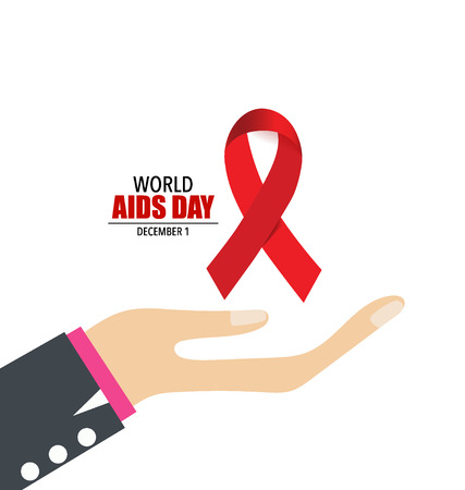 cause: Stop AIDS: Hand with ribbon. Vector illustration.