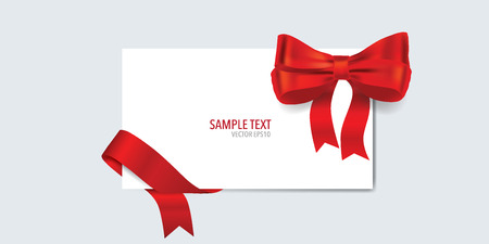 gift ribbon: Cards with gift bow and shiny red ribbon. Vector illustration. Illustration
