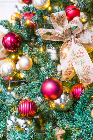 dacorated: Closeup of Christmas tree decorations background Stock Photo