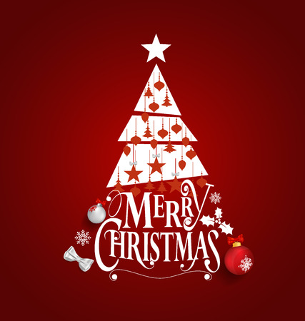 red wallpaper: Christmas Greeting Card. Merry Christmas lettering with Christmas tree, vector illustration. Illustration