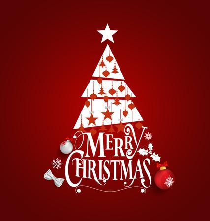 fondo rojo: Tarjeta de felicitaci�n de Navidad. letras Feliz Navidad con el �rbol de Navidad, ilustraci�n vectorial. Vectores