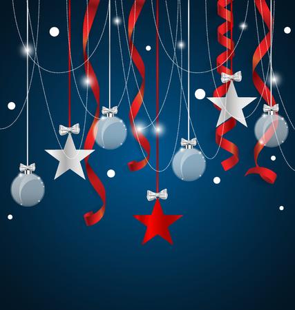 moños navideños: De fondo de Navidad con adornos de Navidad. Ilustración del vector.
