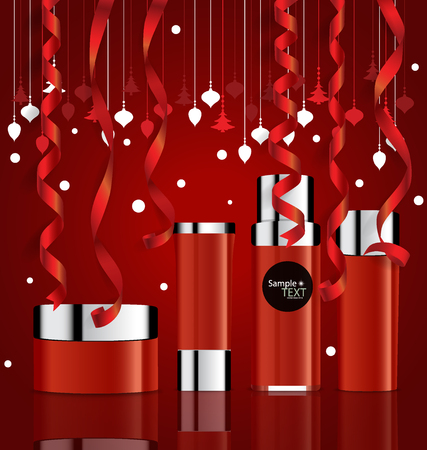 body wrap: Cosmetics packaging, Holiday Gift with Christmas decorations. Vector illustration. Illustration