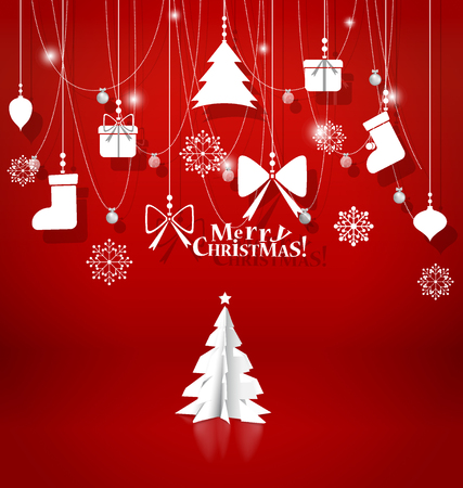 postcard background: Christmas background with Christmas decorations. Vector illustration. Illustration