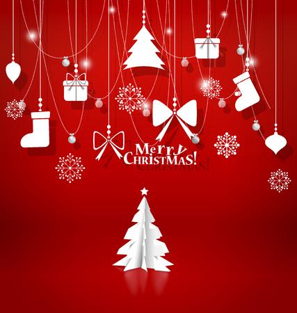 fondo rojo: De fondo de Navidad con adornos de Navidad. Ilustraci�n del vector.