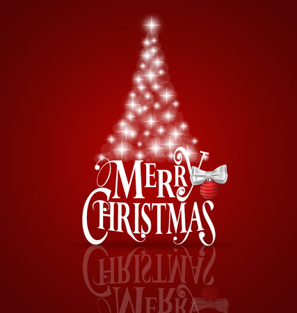 Christmas Greeting Card. Merry Christmas lettering with Christmas tree, vector illustration. Vettoriali