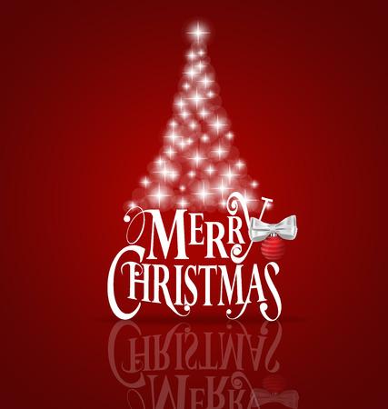 temporada: Tarjeta de felicitación de Navidad. letras Feliz Navidad con el árbol de Navidad, ilustración vectorial. Vectores