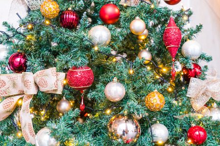 dacorated: Closeup of Christmas tree decorations background Editorial