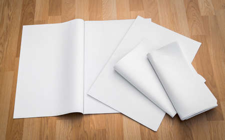 broadsheet newspaper: Blank Newspaper with empty space mock up on wood background Stock Photo