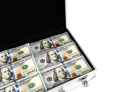 redemption: Suitcase of money with hundred dollar on white  background Editorial