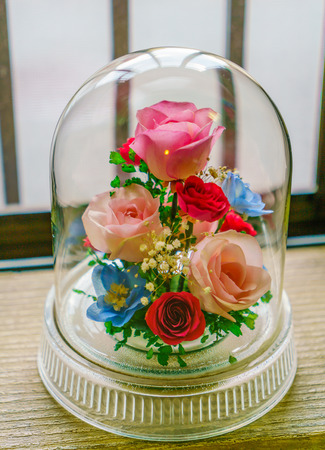artificial flower: Decoration artificial flower in glass Stock Photo