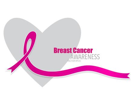 Breast cancer awareness pink ribbon. Vector Illustration. Stock Photo