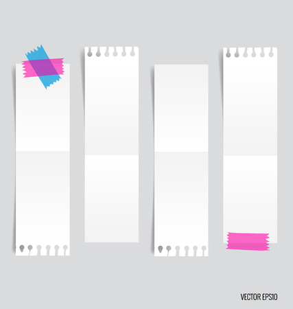 sticky paper: Collection of various white note papers, ready for your message. Vector illustration. Illustration
