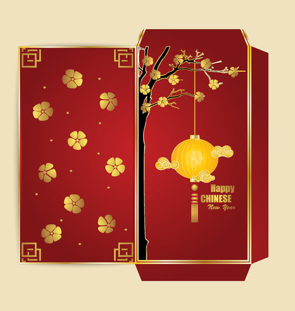 red packet: Chinese New Year Money Red Packet (Ang Pau) Design with Die cut. Vector Illustration.