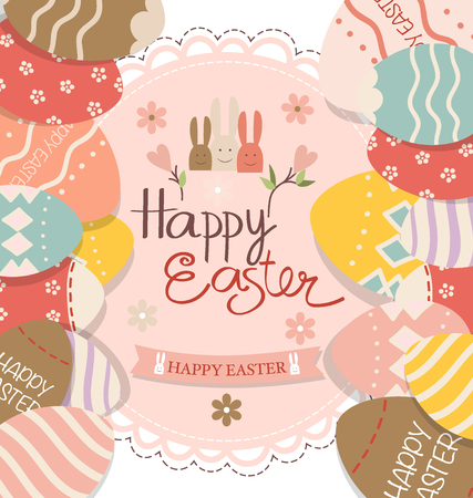 brown hare: Happy easter cards with Easter bunnies and Easter eggs. Vector illustration. Illustration