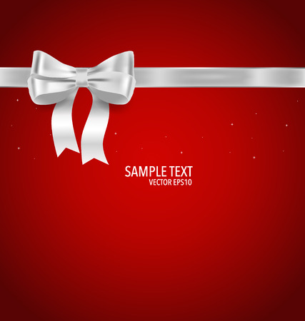 x mas parties: Shiny ribbon on red background. Vector illustration.