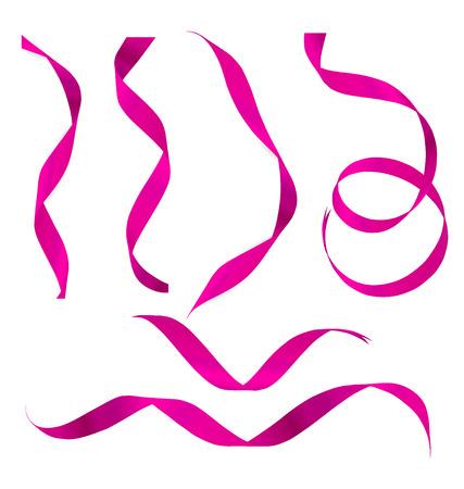 x mas parties: Shiny pink ribbon on white background. Vector illustration. Illustration