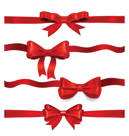 x mas parties: Shiny red ribbon on white background. Vector illustration.