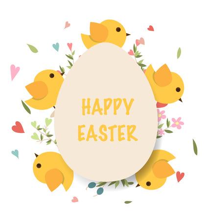 huevo caricatura: tarjetas de pascua felices con los huevos de Pascua. Ilustración del vector.