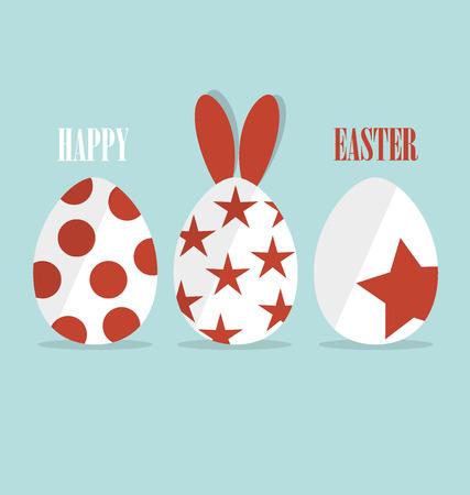 huevo caricatura: tarjetas Pascua feliz con los conejitos de Pascua y huevos de Pascua. Ilustración del vector. Vectores