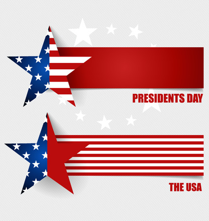 politics: Happy Presidents Day. Presidents day banner illustration design with american flag.
