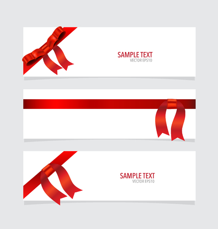 x mas background: Cards with red ribbons. Vector illustration.