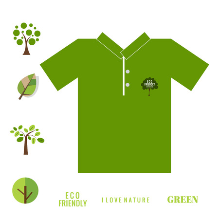 t shirt design: T- shirt design - ECO FRIENDLY - Creative Ecology concept with Trees Vector Design.