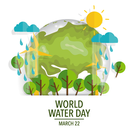 World water day concept with globe. Vector illustration.