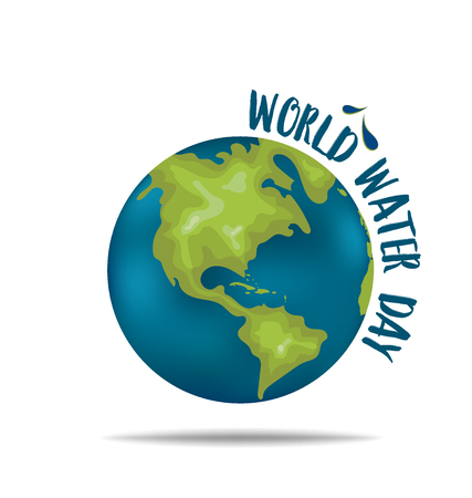 day care: World water day concept with globe. Vector illustration.