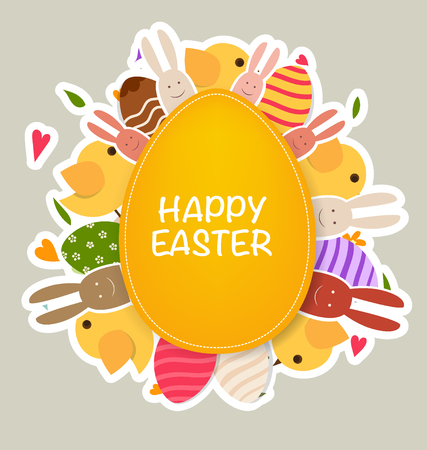 chocolate egg: Happy easter cards with Easter bunnies and Easter eggs. Vector illustration. Illustration
