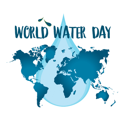 World water day concept with water drop made by globe. Vector illustration.