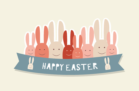 brown hare: Happy easter cards with Easter bunnies. Vector illustration.