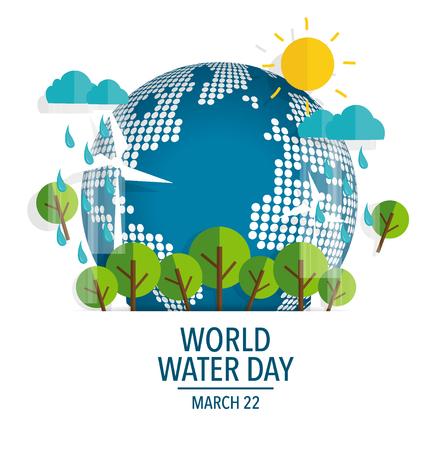 Concepto del día mundial del agua con el globo. Ilustración del vector.