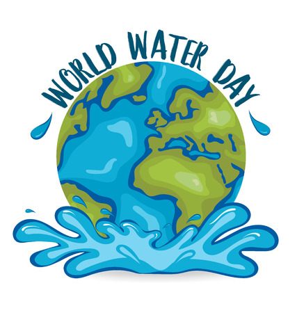 Concepto del día mundial del agua con el globo. Ilustración del vector. Ilustración de vector