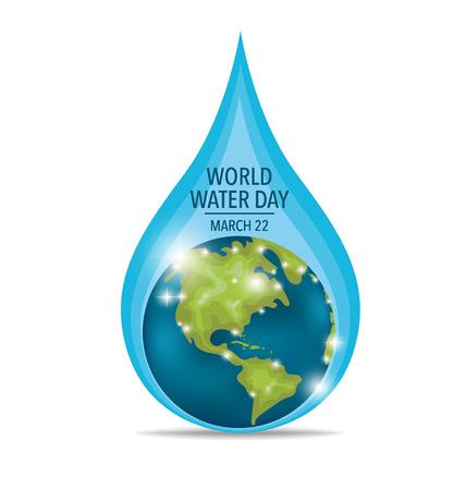 Concepto del día mundial del agua con gota de agua hecha por globo. Ilustración del vector. Ilustración de vector