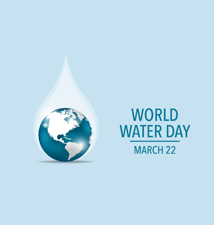 business environment: World water day concept with water drop made by globe. Vector illustration.