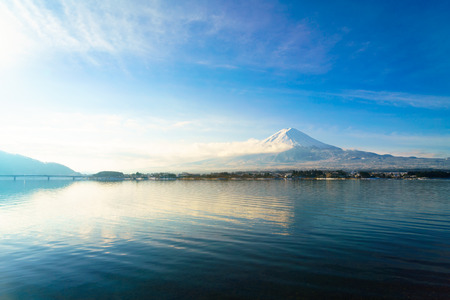 fuji san: Mountain fuji and lake kawaguchi, Japan Stock Photo