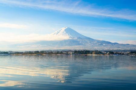 kawaguchi: Mountain fuji and lake kawaguchi, Japan Stock Photo