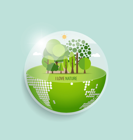 home concept: Green Eco Earth. Vector Illustration.