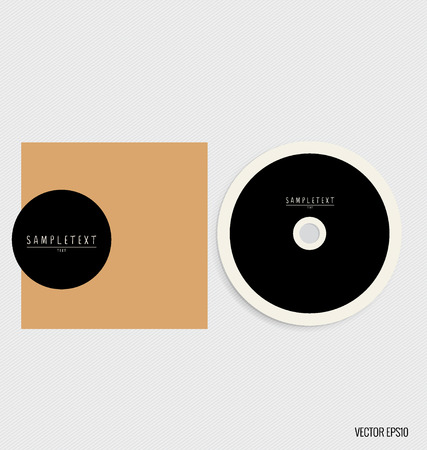 compact disk: Blank compact disk with cover mock up template. Vector illustration