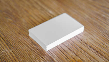 business cards: Business cards on wood table