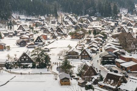 shirakawago: Winter Of Shirakawago with snow falling , Japan
