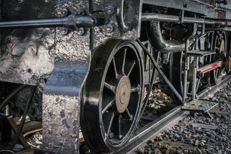 Cierre de las ruedas del tren viejo