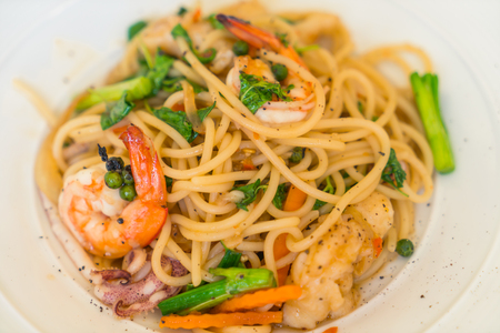 pastasciutta: Spaghetti with shrimps Stock Photo