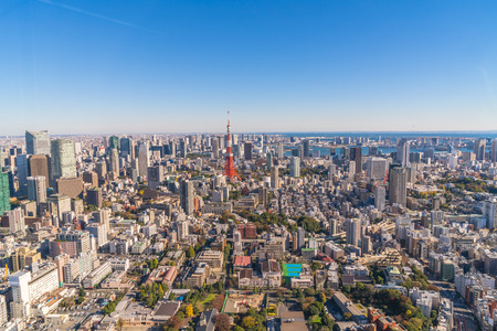 tokyo prefecture: TOKYO, JAPAN - 26 NOVEMBER 2015 - The Tokyo  Kanto region and Tokyo prefecture, is the first largest metropolitan area in Japan. Downtown Tokyo is very modern with many skyscrapers.