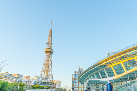 above 21: NAGOYA, JAPAN - FEB 07: Oasis 21 in Nagoya, Japan on FEB 07, 2016. A shopping complex nearby Nagoya Tower, its large oval glass roof structure floats above ground level
