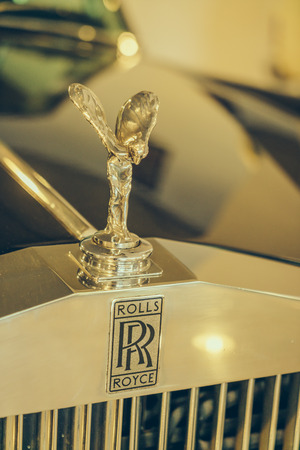 ecstasy: Thailand - MAY 05, 2016: The Spirit of Ecstasy ornament on Rolls-Royce car  at the Supercar Sunday car show. Editorial