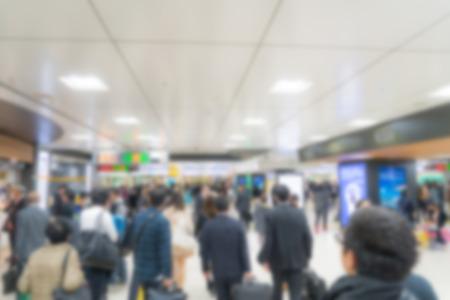 blur subway: Abstract blur people on subway train