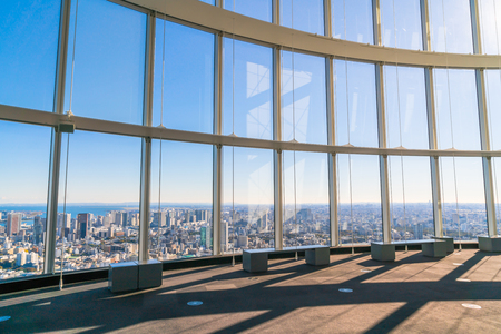 sprawl: Observation windows  in Tokyo with views of skyscrapers Japan