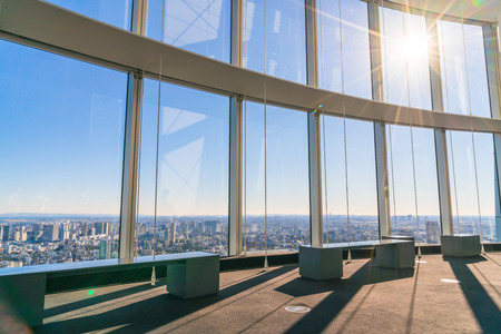 observer: Observation windows  in Tokyo with views of skyscrapers Japan